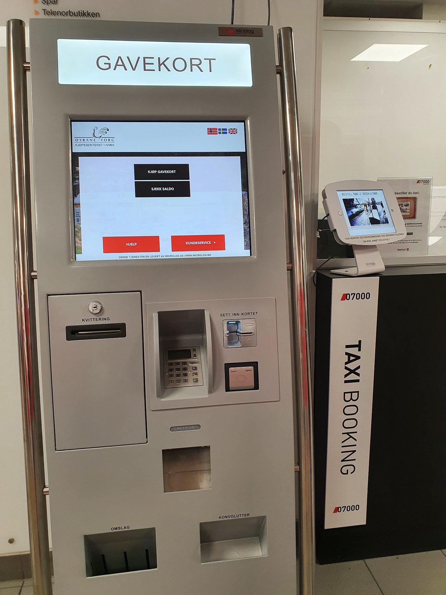 Ny gavekorautomat og taxi booking!