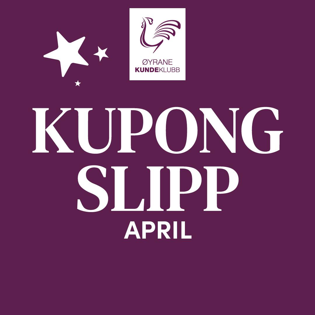 Øyrane Torg logo - Hvit tekst på burgunder bakgrunn - Kupong slipp april