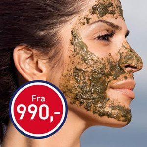 Portrett av dame med green peel I ansiktet