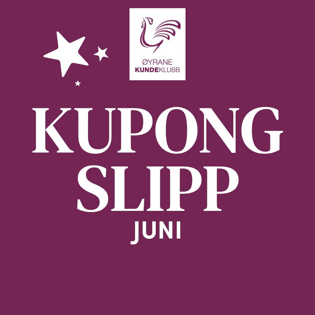 Burgunder bakgrunn med tekst Kupong slipp juni